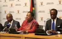 Higher Education and Training Minister Naledi Pandor, Deputy Minister Buti Manamela and Nsafs chairperson Sizwe Nxasana briefing media in Cape Town on the progress made, so far, in implementing free higher education. Picture: @SAgovnews/Twitter