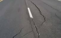 A large sink-hole forming on the N2 highway in Durban. Picture: Supplied.