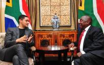 President Cyril Ramaphosa receives a courtesy call from renowned comedian Trevor Noah, ahead of his oral reply to questions in the National Assembly in Cape Town. Picture: GCIS.