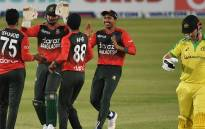 Bangladesh players celebrate the fall of an Australian wicket in their T20 international match on 3 August 2021. Picture: @CricketAus/Twitter