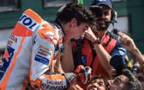 Repsol Honda Team rider Marc Marquez celebrates after winning the San Marino MotoGP race at the Misano World Circuit Marco Simoncelli on 15 September 2019. Picture: AFP