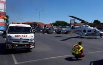 ER24 paramedics, along with the City of Johannesburg Fire Services and several other services, arrived on the scene shortly after 14h00 to find a restaurant well alight. Picture: Supplied