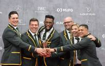 Members of South Africa's men's national rugby team, the Springboks, pose on the red carpet with their Team of the year award at the 2020 Laureus World Sports Awards ceremony in Berlin on 17 February 2020. Picture: AFP