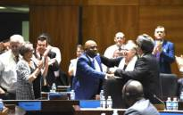 City of Tshwane mayor-elect Stevens Mokgalapa celebrates following his election as executive mayor on 12 February 2019. Picture: DA