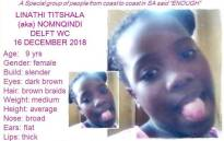 Nine-year-old missing Linathi Titshala. Picture: Missing Persons Pink Lady Organisation/Facebook