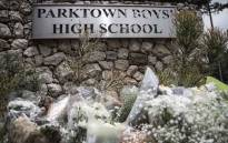 Flowers laid outside Parktown Boys' High School on 20 January 2020 after one of its pupils Enock Mpianzi died at a school camp in the North West. Picture: Abigail Javier/Eyewitness News