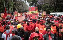 FILE: Striking Cosatu members in Pretoria on 7 October 2020. Picture: Abigail Javier/Eyewitness News.
