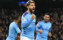 Manchester City striker Sergio Aguero (C) celebrates scoring the opening goal during the English Premier League football match between Manchester City and Sheffield United at the Etihad Stadium in Manchester, north west England, on 29 December 2019. Picture: AFP