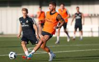 Real Madrid's Sergio Ramos (right) during a training session. Picture: @realmadriden/Twitter
