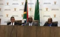 FILE: Public Works Minister Thulas Nxesi (centre) at a press conference in Pretoria on 19 July 2018. Picture: Pelane Phakgadi/EWN
