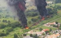 An aerial view of the fuel jet pipeline fire in Alberton on 31 December 2019. Picture: @Abramjee/Twitter