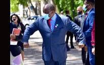 Finance Minister Tito Mboweni and his team arriving at Parliament, in Cape Town, to deliver his  Budget speech on 24 February 2021. Picture: GCIS.