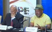 A screengrab of Eskom board chairperson Jabu Mabuza and Public Enterprises Minister Pravin Gordhan at a media briefing on 19 March 2019.