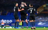Manchester City players celebrate their victory over Everton in their English Premier League match on 17 February 2021. Picture: @ManCity/Twitter