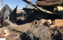 The remains of a shack following a fire at an informal settlement near Claremont, Johannesburg on 6 August 2018. Picture: Mia Lindeque/EWN