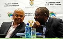 Finance Minister Pravin Gordhan with Deputy President Cyril Ramaphosa during an engagement with the Western Cape Farming Community in Paarl in 2016. Picture:GCIS.
