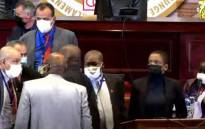 A screengrab of the rowdy session of the Pan African Parliament on 1 June 2021.