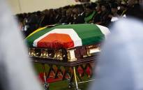 The casket of Dr Edna Molewa at Tshwane Events Centre where her funeral was held. Picture: Kayleen Morgan/EWN