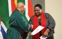Thoko Didiza (right) is sworn in as the Agriculture, Rural Development and Land Reform minister on 30 May 2019. Picture: Kayleen Morgan/EWN