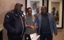 Chippa United have confirmed the signing of Jomo Cosmos attacking midfielder Silas Maziya (centre) on a signed a two-year contract. Picture: @ChippaUnitedFC/Twitter