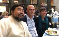 Asia Investigative Editor at Reuters Peter Hirschberg (middle) with colleagues at the Pulitzer Prize lunch in New York. Picture: @phirschberg1/Twitter