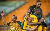 Kaizer Chiefs players celebrate a penalty, scored by Daniel Cardoso against Golden Arrows on Tuesday night. Credit: Kaizer Chiefs/Twitter