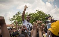 FILE: Student activist Mcebo Dlamini celebrates the granting of bail at the Palm Ridge Magistrates Court in Thokoza. Picture: Thomas Holder/EWN