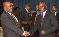 FILE: President Thabo Mbeki (right) shakes hands with deputy President Jacob Zuma who was appointed at Mbeki's first Cabinet meeting as president on 17 June 1999 at the Union Buildings in Pretoria. Picture: AFP.