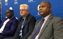 Bonginkosi Madikizela (left), Alan Winde (centre) and Dan Plato (right) at the DA press briefing on its candidate for the Western Cape premier on 19 September 2018. Picture: Cindy Archillies/EWN