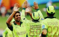 Pakistani players celebrate a wicket during their World Cup ODI match against the UAE on 4 March 2015. Picture: CWC website.