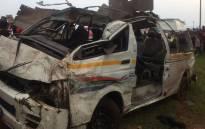 A taxi crash which killed five in Westonaria. Picture: Arrive Alive.