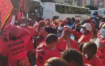 Members of the EFF march to the offices of the SAHPRA on Friday, 25 June 2021. Picture: Boikhutso Ntsoko/Eyewitness News