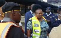 Gauteng Community Safety MEC Sizakele Nkosi-Malobane interacts with drivers and commuters on road safety issues ahead of the Easter weekend. Picture: @GP_CommSafety/Twitter.