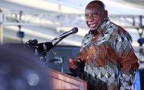 President Cyril Ramaphosa addresses the crowd at a Heritage Day celebration at the Mxolisi Jacobs Stadium in Upington. Picture: GCIS.