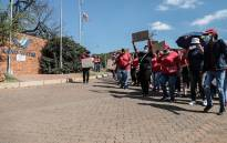 South African Municipal Workers' Union members protesting outside the Rand Water head offices in Johannesburg on 21 April 2021 to demand bonuses. Picture: Abigail Javier/Eyewitness News