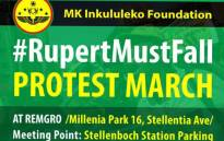 On Friday, dozens of members of the ANC Youth League, Black First Land First, and from the MK Inkululeko Foundation marched to Remgro Limited's offices. Picture: Twitter/ @savethebay4