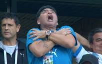 Diego Maradona at a match during the 2018 Fifa World Cup. Picture: Supplied.