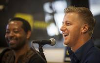 Media personality Gareth Cliff laughs during a press conference in Johannesburg on 30 January 2016 after the courts ruled that he be reinstated as a judge on tv show 'Idols'. Picture: Reinart Toerien/EWN