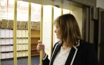 Debbie Schäfer Minister of Education in the Western Cape, looks into the vault where the 2018 matric exams are stored. Picture: Bertram Malgas
