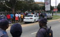 Several Uber and Bolt drivers took part in a protest on 19 February 2020 over safety issues and drove in convoy from Zoo Lake in Parkview to Sandton. Picture: Sethembiso Zulu/EWN.