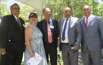 Tafelsig High School principal Rushda O'Shea, Trafalgar High School principal Nadeem Hendricks principal, Aloe High Principal Envil Wertheim, Spine Road High School principal Riyaadh Najaar and South Peninsula High acting principal Zeid Baker celebrating their schools achievements at the WCED awards on 11 January, 2018. Picture: Kaylynn Palm/EWN
