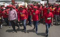 EFF leader Julius Malema (second from right) and party members make their way to Chris Hani Baragwanath Hospital as they demand improvements in public health care. Picture: Ihsaan Haffejee/EWN