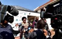 Communications Minister Nomvula Mokonyane addressing media at the Cabinet Lekgotla in Pretoria. Picture: @SAgovnews/Twitter.