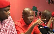 FILE: Economic Freedom Fighters leader Julius Malema (C) pictured during a press briefing on 14 February 2017. Picture: EWN.