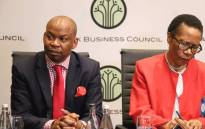 FILE: George Sebulela (L) seen with Danisa Baloyi (R) . Picture: @BlackBusinessCouncil/Twitter