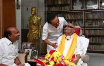 M Karunanidhi, seated, has died at the age of 94. Picture: @kalaignar89/Twitter.