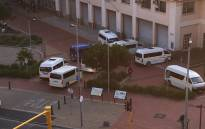 Taxi drivers begin their blockade of the Gallows Hill traffic department in protest over operating licences on 6 May 2019. Picture: EWN