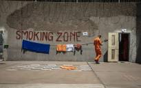 A smoking zone is part of the maximum security yard inside the Leeuwkop Correctional Facility. Picture: Thomas Holder/EWN.
