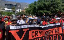 Samwu members participate in Cosatu's national stay away on 7 October 2021 in Cape Town. Picture: Kaylynn Palm/Eyewitness News