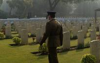 A British Army officer walks during a Remembrance Sunday ceremony at Delhi War Cemetery in New Delhi on 11 November, 2018. Picture: AFP.